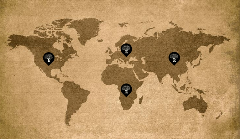 Karpea's presence in 4 continents. Europe, America, Asia, Africa