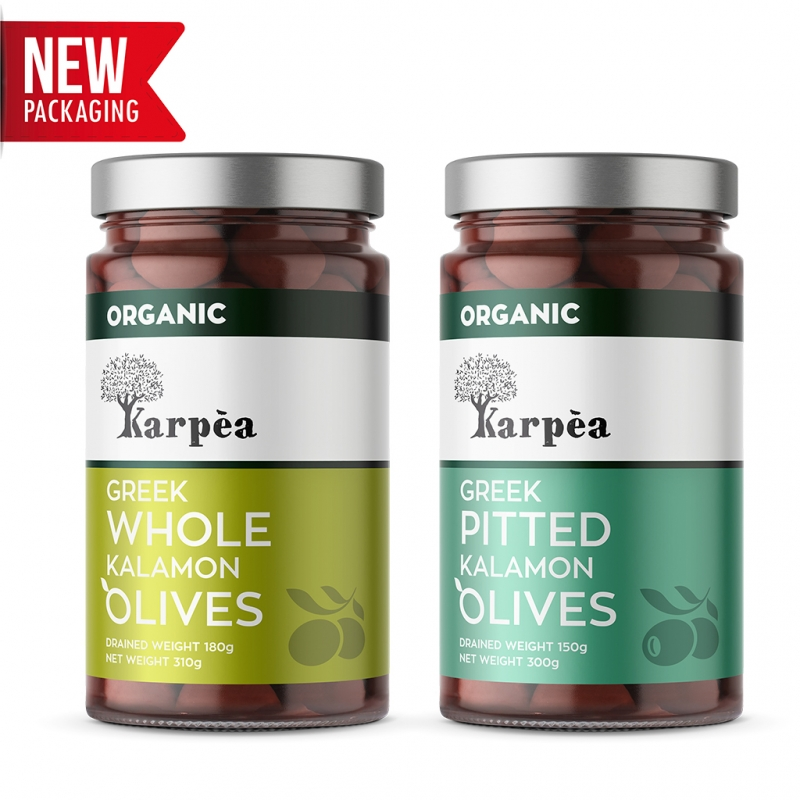 Karpea Greek Organic Kalamata Olives (Kalamon)