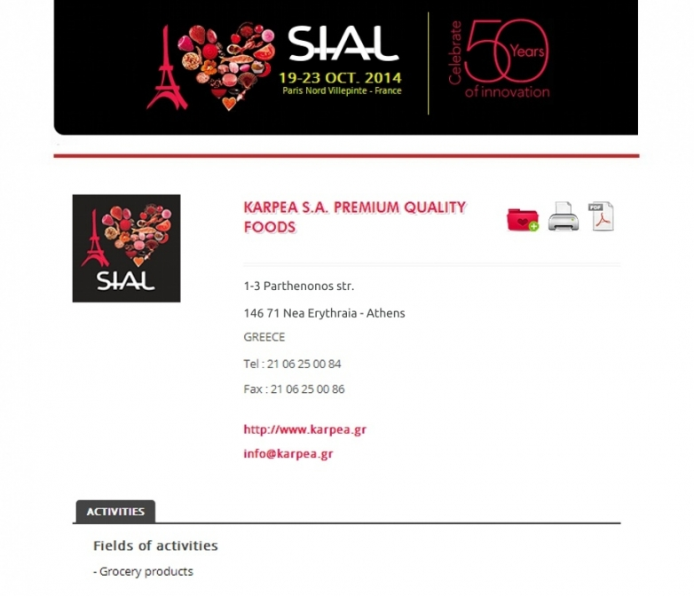 SIAL / Paris 19-23 October 2014
